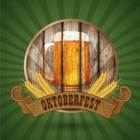 beer fest: Oktoberfest vintage design, Vector illustration   Illustration