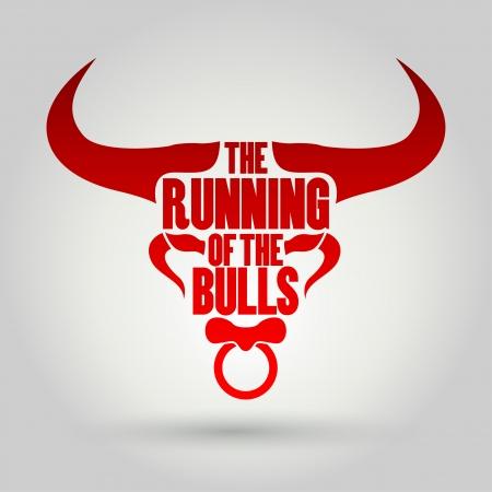 Running of the Bulls festival, Vector illustration   Vector