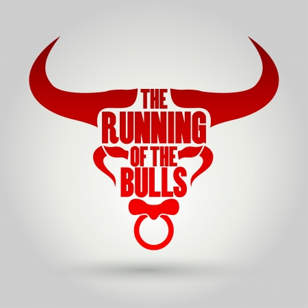 red bull: Running of the Bulls festival, Vector illustration   Illustration