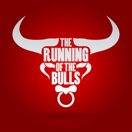 Running of the Bulls festival, Vector illustration   Illustration