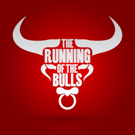 bull rings: Running of the Bulls festival, Vector illustration   Illustration