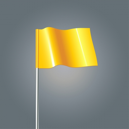 3d Yellow Flag, vector illustration  Ilustração