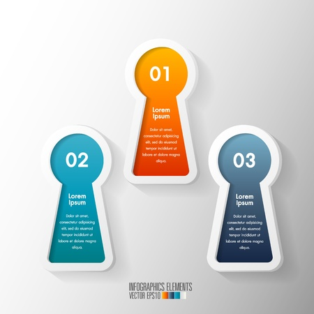 Modern infographics with keyhole shape, Vector illustration  Vector