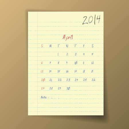 april 2014 Calendar Ilustração