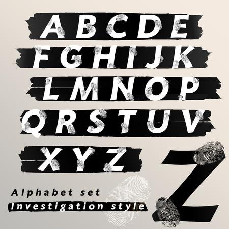 csi: tipo de letra y los n�meros alfab�tico Vectores