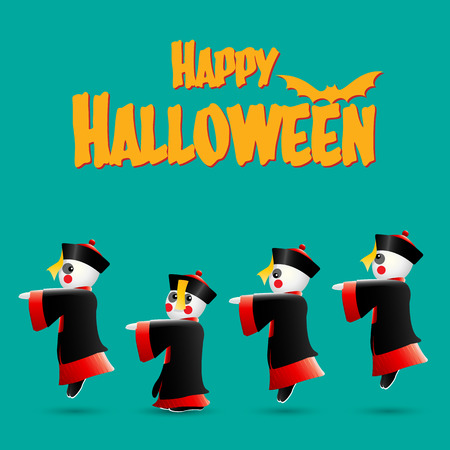 Happy Halloween with Chinese zombies Vector