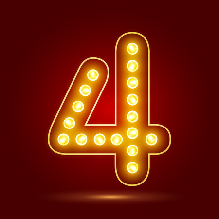 number 4 with realistic lamp design Vector