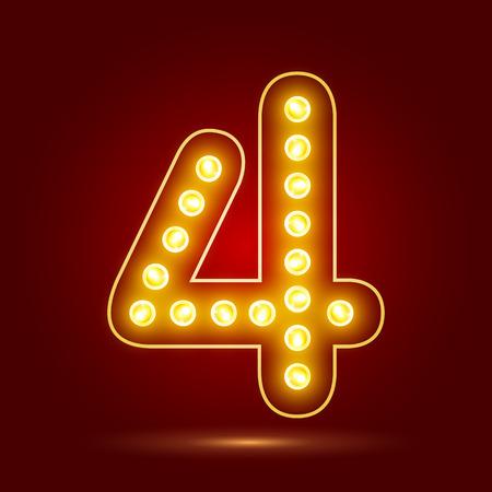 number 4 with realistic lamp design Ilustração