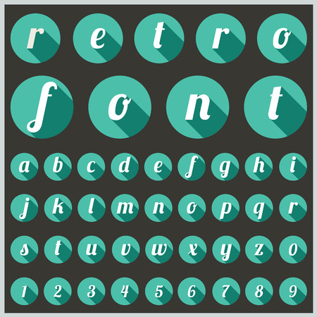 retro type: alphabetic font and numbers Illustration