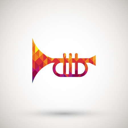 clarinet player: symbol with colorful diamond