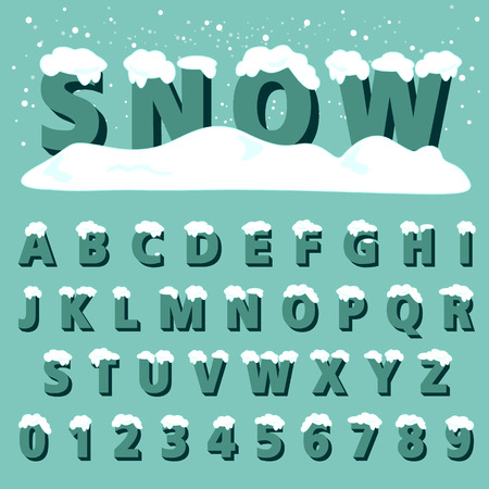 snow: alphabetic font and numbers Illustration