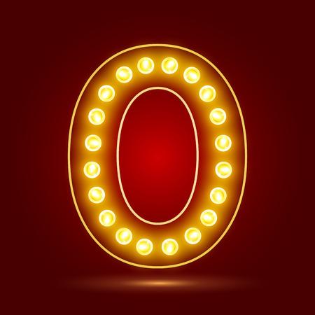 number 0 with realistic lamp design Ilustração
