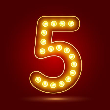 number 5 with realistic lamp design Ilustração