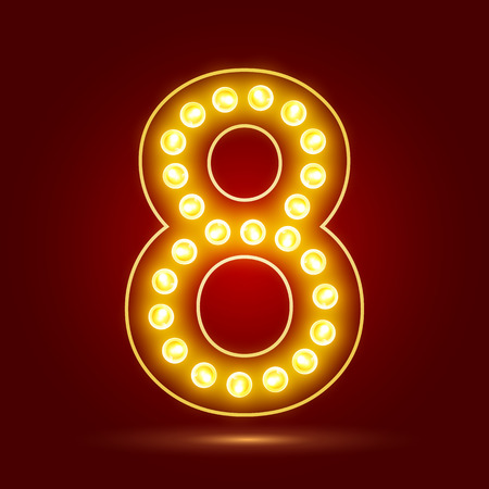 number 8 with realistic lamp design