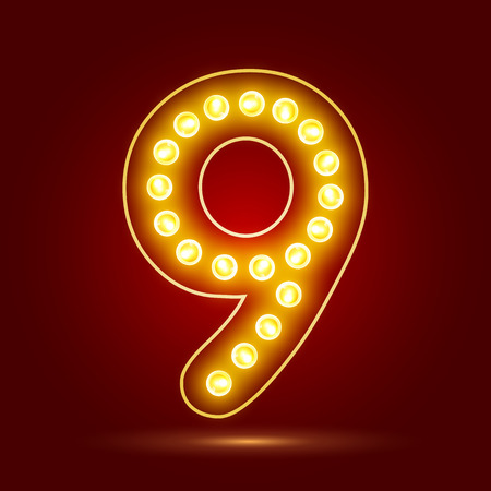 number 9 with realistic lamp design