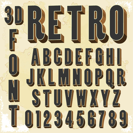 fonts vector: alphabetic font and numbers Illustration