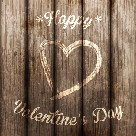 wooden fence: happy valentine s day Illustration