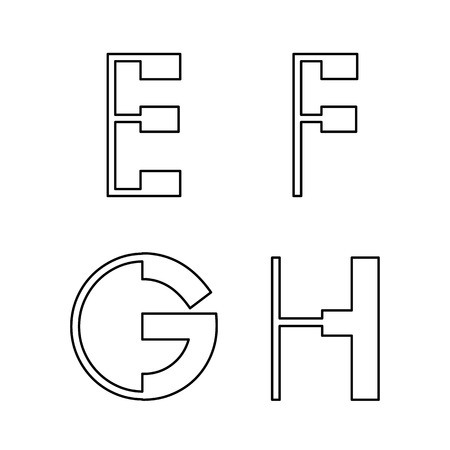 alphabetic fonts E F G H Vector