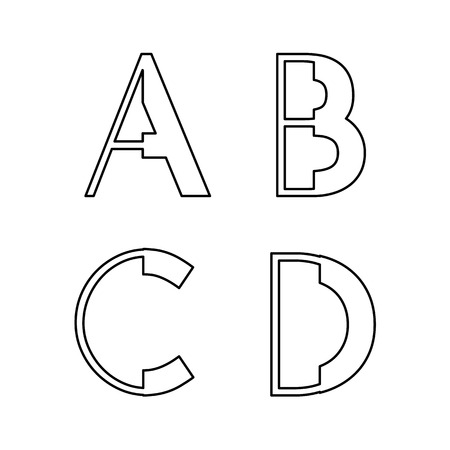 alphabetic fonts A B C D Vector