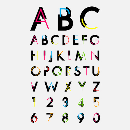 alphabetic fonts and numbers 일러스트