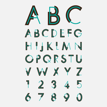 alphabetic fonts and numbers Illustration