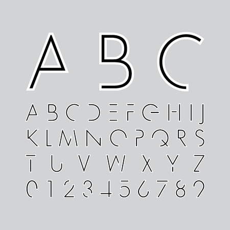 alphabetic fonts and numbers Vector
