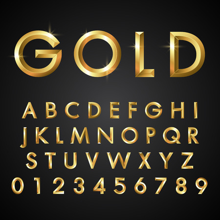 gold letters: Letters and Numbers vector eps10 illustration