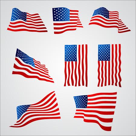 USA Flags set vector eps10 illustration Illustration