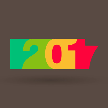 color of year: Happy New Year 2017 with 2017 Color Trends Illustration