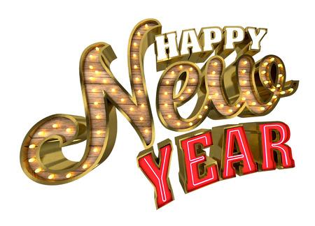 letrero: Feliz Año Nuevo, la representación 3d Foto de archivo