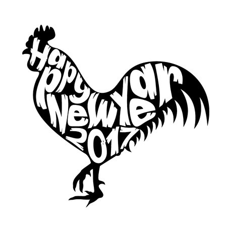 Happy New Year with Rooster Illustration