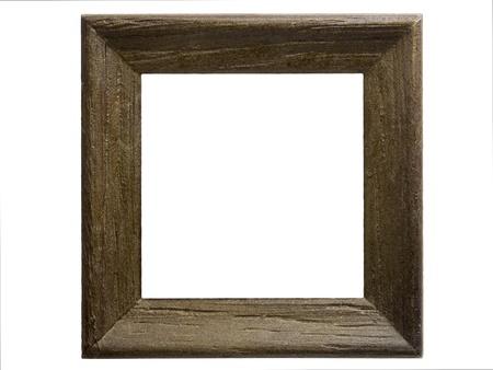 marco madera: Primer plano de un marco de madera peque�o aislado en blanco Foto de archivo