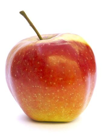 manzana: Primer plano de una manzana descansando sobre el papel de acr�lico aislado en blanco Foto de archivo