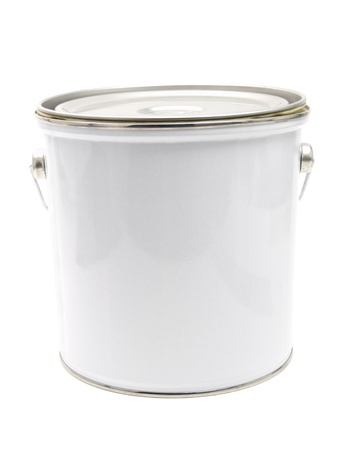 paint can: Close-up of a white paint can isolated on white