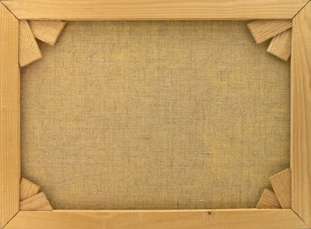 white canvas: Back of canvas in  wooden frame with stretcher bars