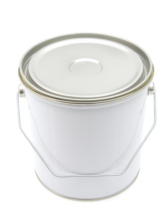 paint can: White paint can with handle isolated on a white background Stock Photo