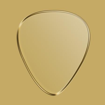 Golden guitar pick illustration against brown background illustration