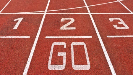 red competition: Running track with numbers and go displayed