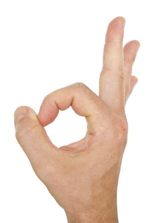 ok symbol: Gesto perfetto mano maschile, isolato su sfondo bianco