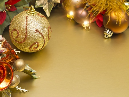 Christmas balls with decoration on golden background Stock Photo - 11060337