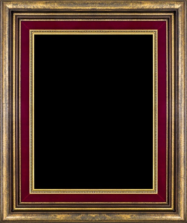 Antique wooden frame isolated on black photo