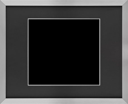 Modern aluminum frame with mat isolated on black