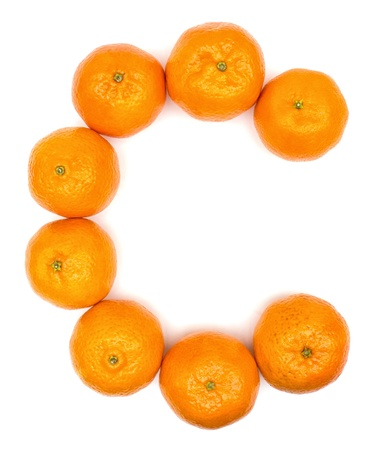 Oranges vitamin concept on white background photo