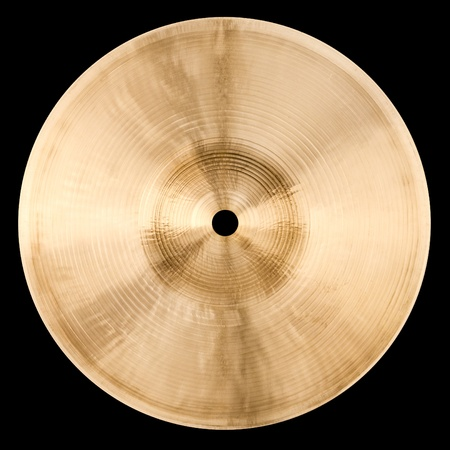 Backside of small cymbal isolated on black photo