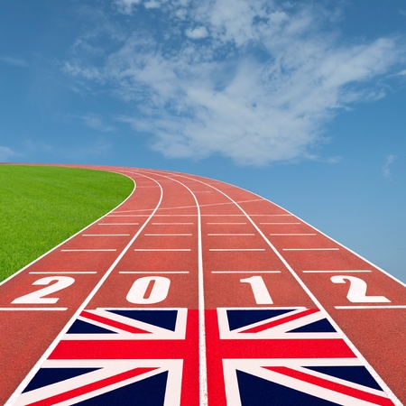 Olympics 2012 concept with running track and british flag photo