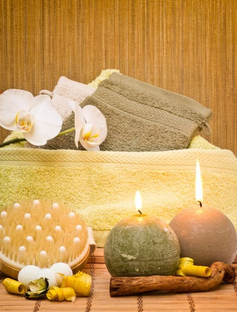 Spa decoration from various objects with candles photo