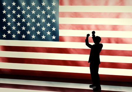 presidential election: Silhouette of a cheering politician against american flag with vintage look Stock Photo