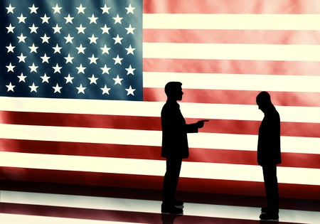 accusing: Silhouette of a politicians blaming other on american flag background with vintage look