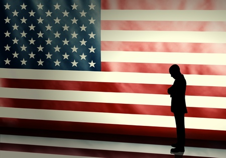 politician: Silhouette of a sad politician on american flag background with vintage look Stock Photo