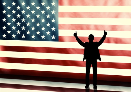 politician: Silhouette of a thumbs up politician on american flag background with vintage look Stock Photo